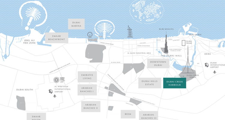 Dubai Creek Harbour Location Map